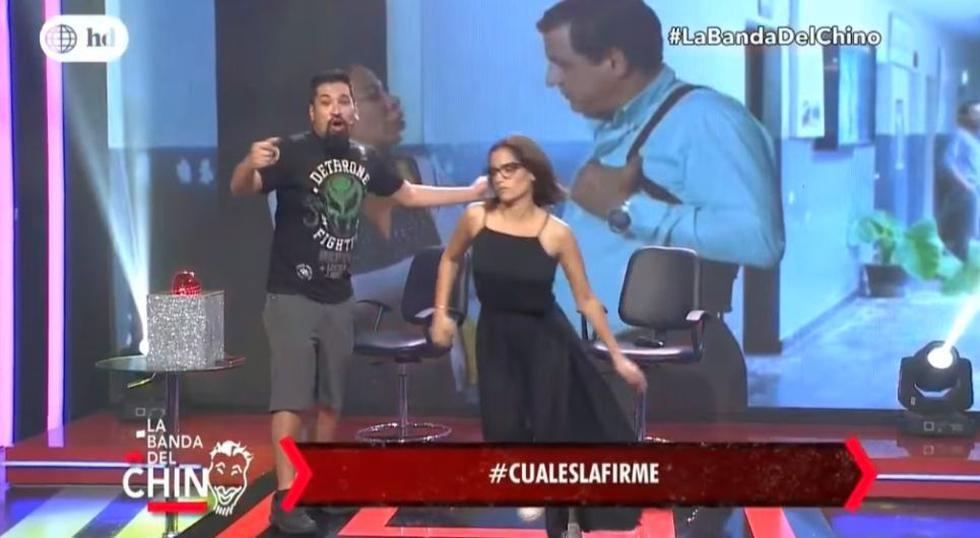 Melania Urbina se incomodó por las preguntas de Nicola Porcella y abandonó el set del programa 'La banda del Chino'. (América TV)