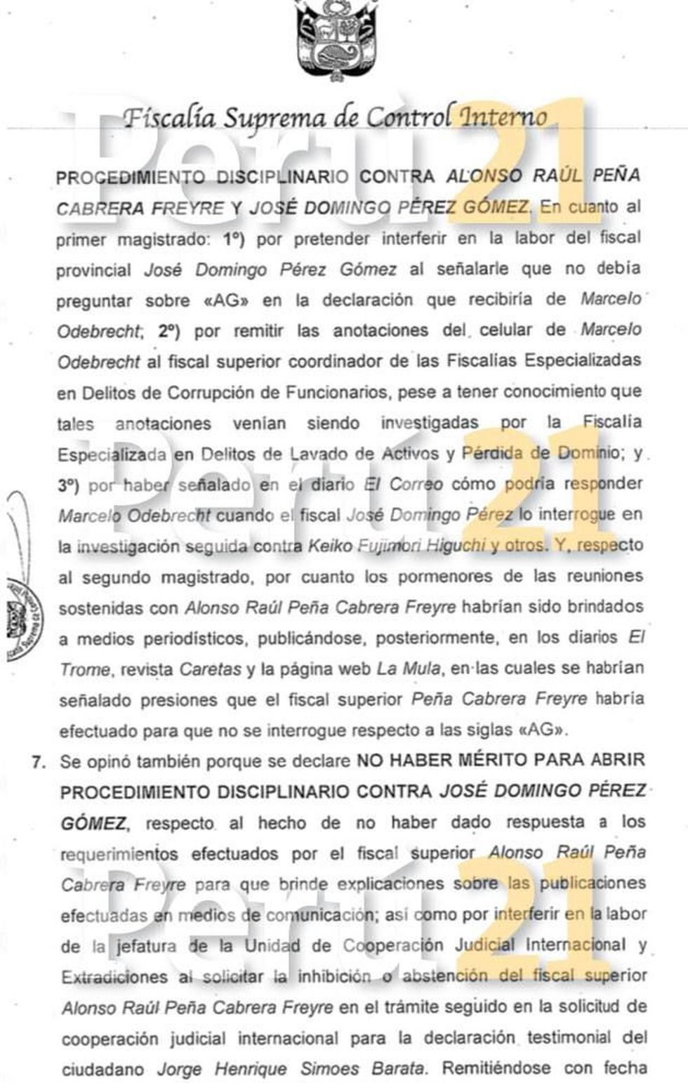 Abren proceso disciplinario a Peña Cabrera.