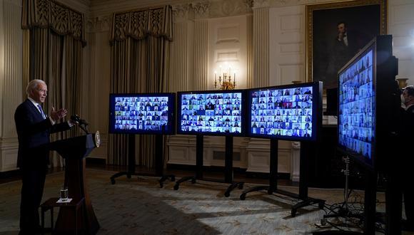 El presidente Joe Biden habla durante una ceremonia virtual de juramento el miércoles 20 de enero de 2021 en Washington (Foto: AP / Evan Vucci).