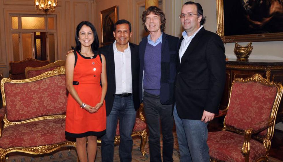 En octubre de 2011, Mick Jagger se reunió con el presidente Ollanta Humala y su esposa Nadine Heredia en Palacio. (Difusión)