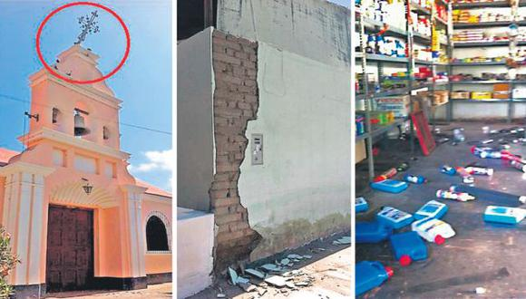 DAÑOS EN VIVIENDAS. Casas y edificios públicos resultaron con rajaduras tras el fuerte sismo de ayer. (Marco de la Torre/USI)