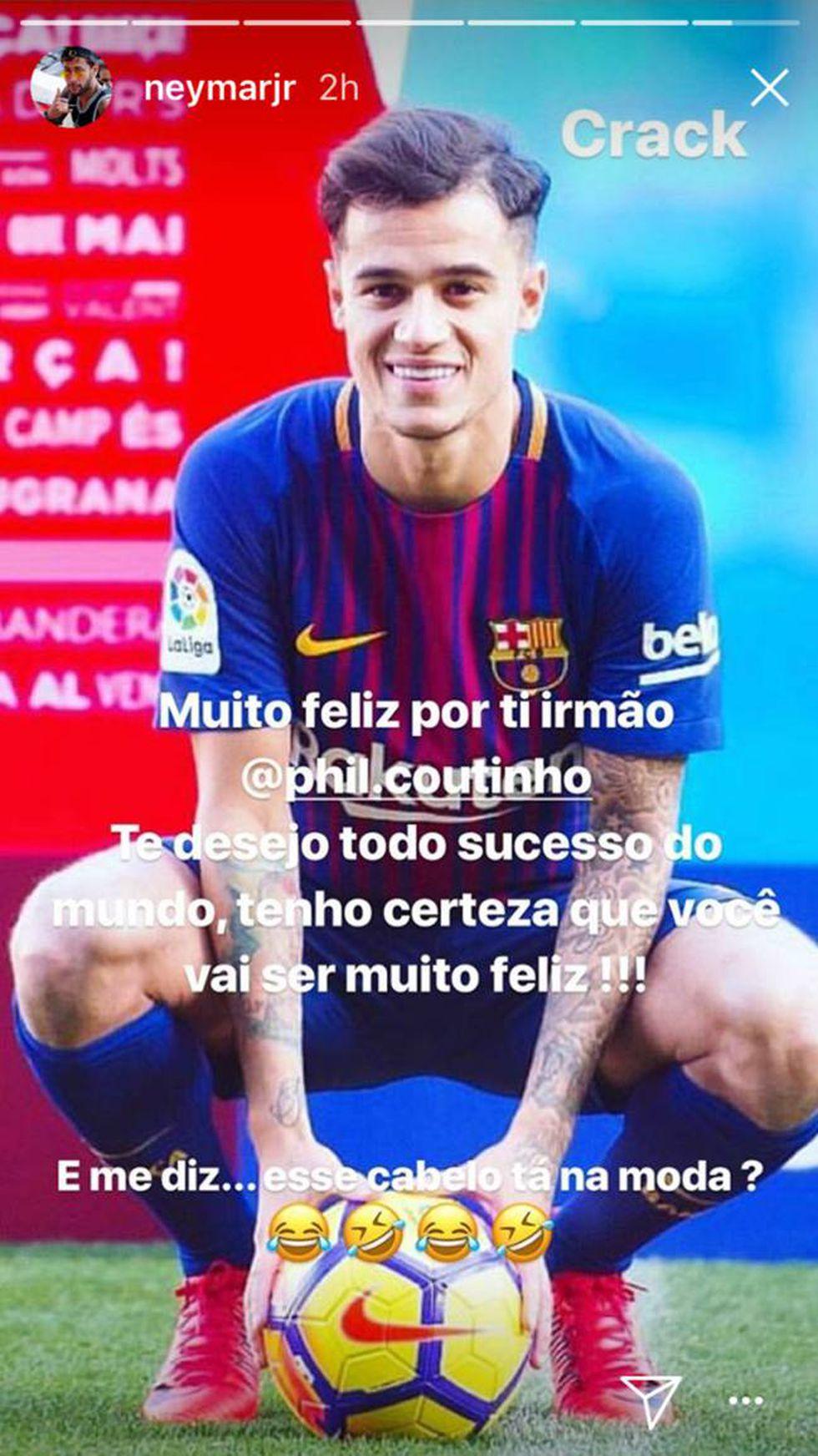 Neymar realiza dedicatoria a Coutinho y se burla de su corte de cabello en Instagram. (neymarjr)