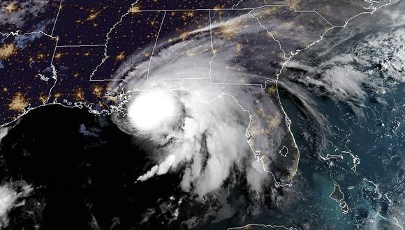 Esta imagen de satélite RAMMB / NOAA muestra el huracán Sally frente a la costa del Golfo de Estados Unidos el 15 de septiembre de 2020. (Handout / RAMMB / NOAA / NESDIS / AFP)