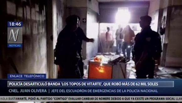 Los agentes policiales activaron el Plan Cerco y capturaron a los hampones. Ellos tenían en su poder 62,500 soles. (Foto: Canal N)