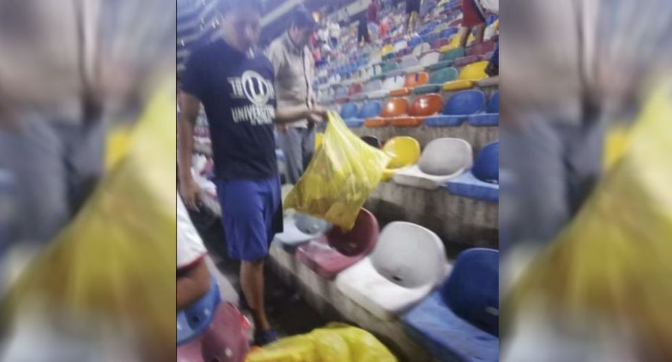 Hinchas creman celebraron el triunfo recogiendo la basura del estadio Monumental. (RPP)