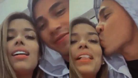 Jean Deza, jugador del Binacional de Puno, compartió una historia besándo a Shirley Arica. (Captura/Instagram/jeandeza9)
