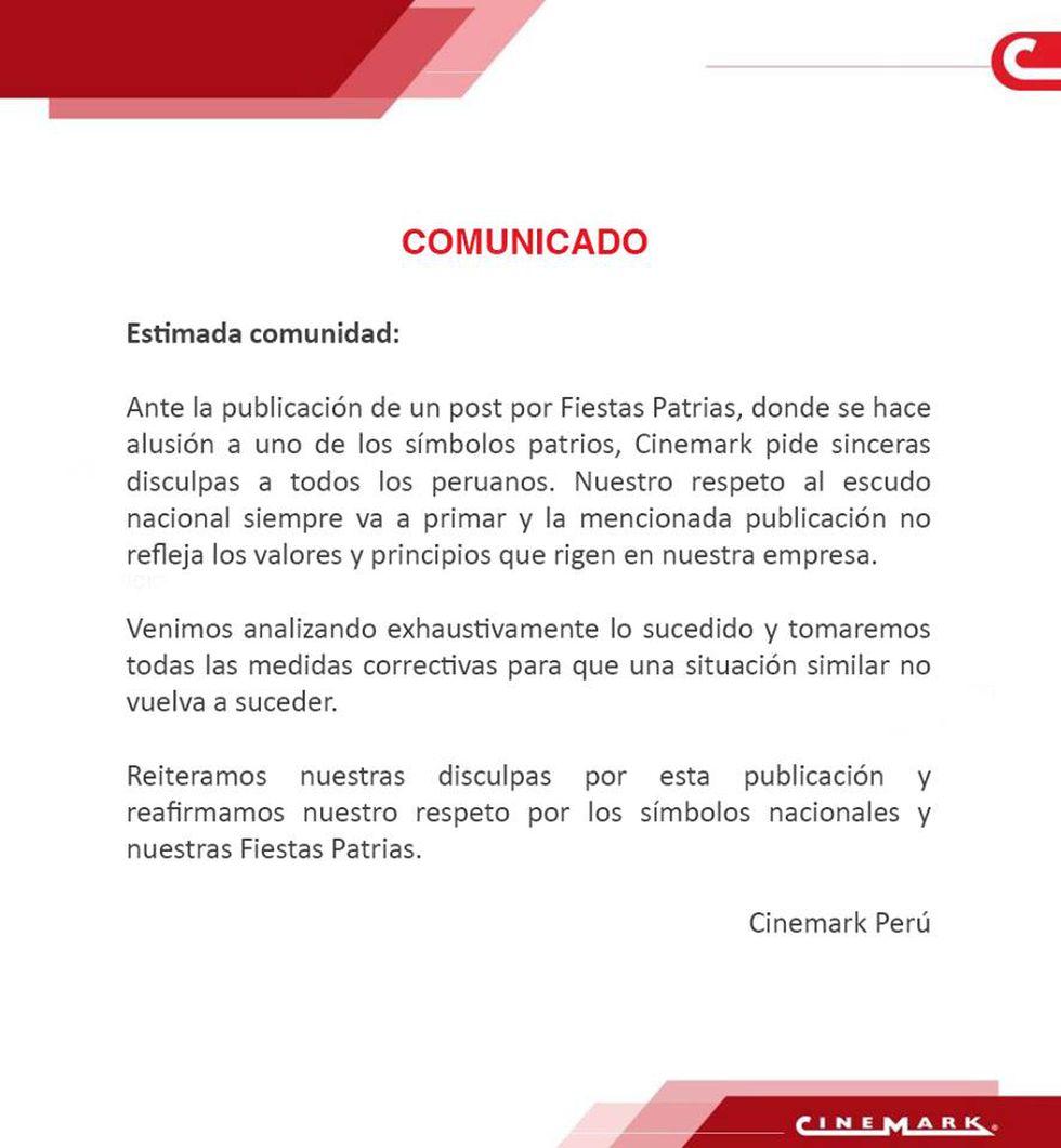 Cadena de cines ofreció disculpas públicas por imagen en la que modificaban el Escudo Nacional.
