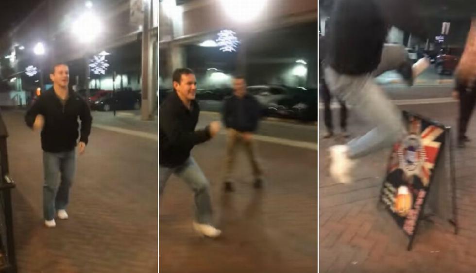 El joven no logró impulsarse adecuadamente y terminó quedándose a medio camino. (YouTube: Viralhog)