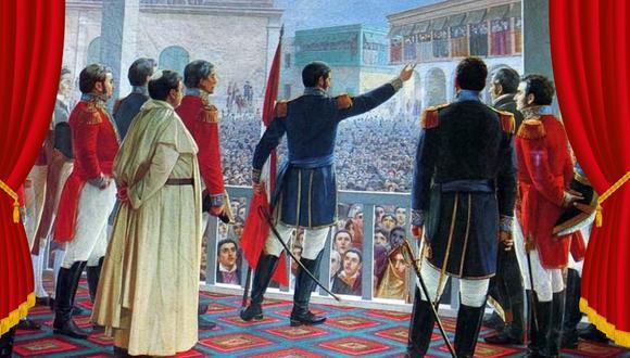 El general San Martín proclamando la Independencia del Perú, el 28 de julio de 1821. Autor: Juan Lepiani (1904).