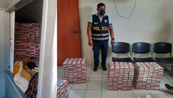 Tumbes: Hallan 60 mil cigarrillos paraguayos de contrabando escondidos en el camarote de ómnibus de transporte interprovincial y detienen a chofer y copiloto. (Foto PNP)