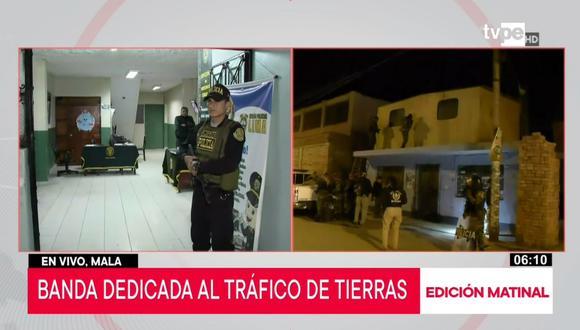 Policía Nacional realizó la operación esta madrugada.Se allanaron más de 10 viviendas. (Captura: TV Perú Noticias)