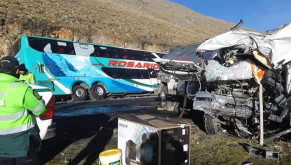 El choque del bus interprovincial con el cisterna ocurrió en la vía Pativilca-Huaraz, en el distrito de Cátac, en Recuay.