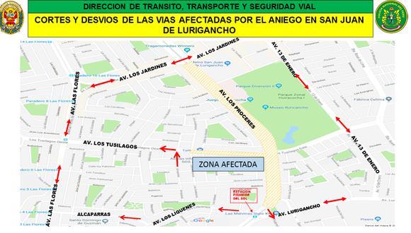 ¡Atención! Conozca las rutas de desvío tras aniego en San Juan de Lurigancho.