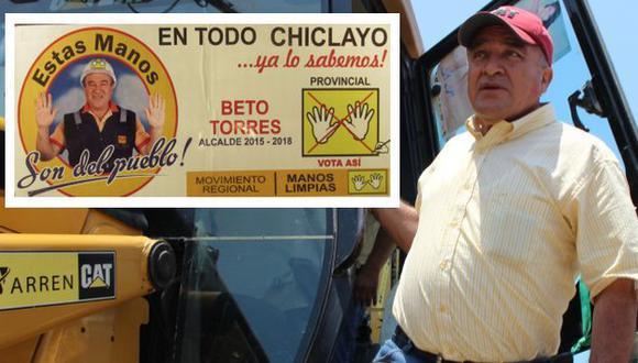 Chiclayo: Con stickers hacen campaña para la reelección de Roberto Torres. (Fabiola Valle/USI)