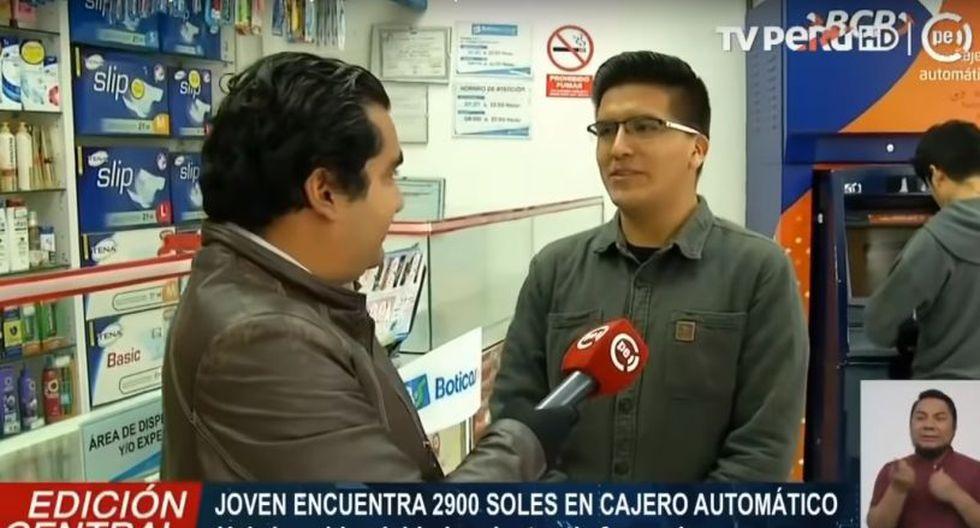 Óscar Corpus Romero contó a TV Perú Noticias que encontró el dinero cuando salió de su casa para retirar dinero en el cajero e irse a almorzar.
