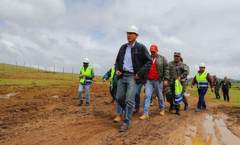 Vizcarra aseveró este lunes que el aeropuerto internacional de Chinchero que su Gobierno se encuentra construyendo será de gran importancia para el desarrollo de la región Cusco. (Foto: Presidencia de la República)