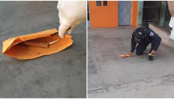 La Libertad. Extorsionadores dejaron cartucho de dinamita en puerta de una vivienda pero el artefacto no llegó a detonar. (PNP)