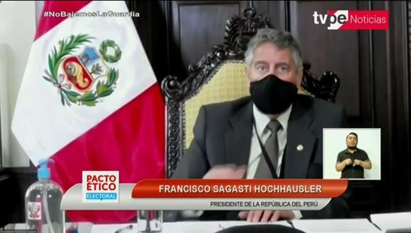 El presidente Francisco Sagasti pidió a candidatos no utilizar debates electorales para expresar confrontaciones personales. (Captura de pantalla TV Perú)