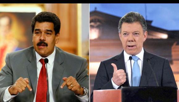 Nicolás Maduro, presidente de Venezuela y Juan Manuel Santos, presidente de Colombia (Infobae.com).