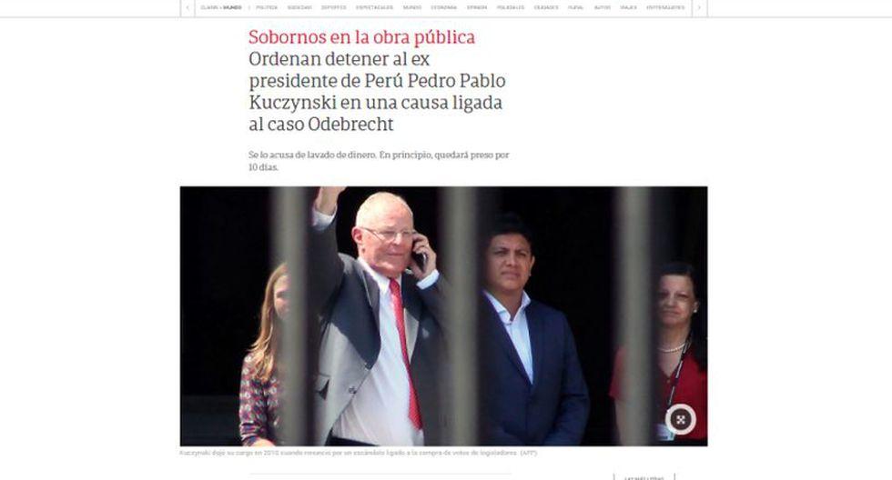 Ordenan detención preliminar contra el ex presidente Pedro Pablo Kuczynski. (Foto: Clarín - Miraflores)