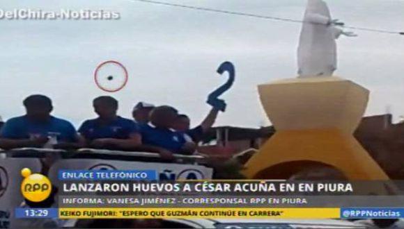 César Acuña: Así fue el 'huevazo' que lanzaron al candidato en Sullana. (Canal N)