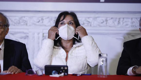 Dina Boluarte dijo no tener conocimiento si el presidente Francisco Sagasti habló con otros integrantes de Perú Libre. (Foto: César Bueno / @photo.gec)