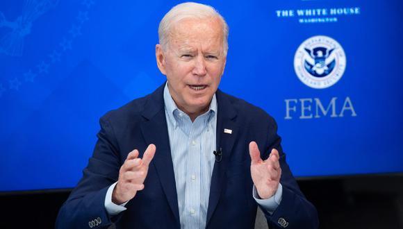 El presidente de los Estados Unidos, Joe Biden, habla durante una sesión informativa virtual en el auditorio del South Court de la Casa Blanca en Washington, el 28 de agosto de 2021. (SAUL LOEB / AFP).