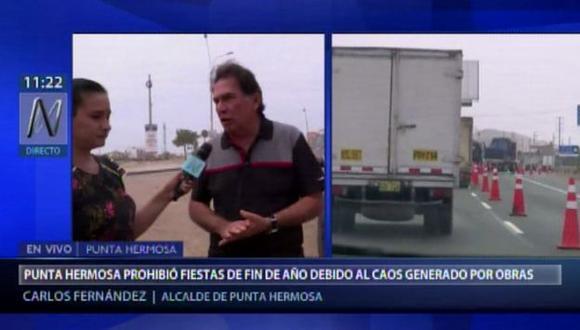 El alcalde de Punta Hermosa dijo que las obras en la antigua Panamericana Sur recién culminarán en junio del 2019. (Canal N)