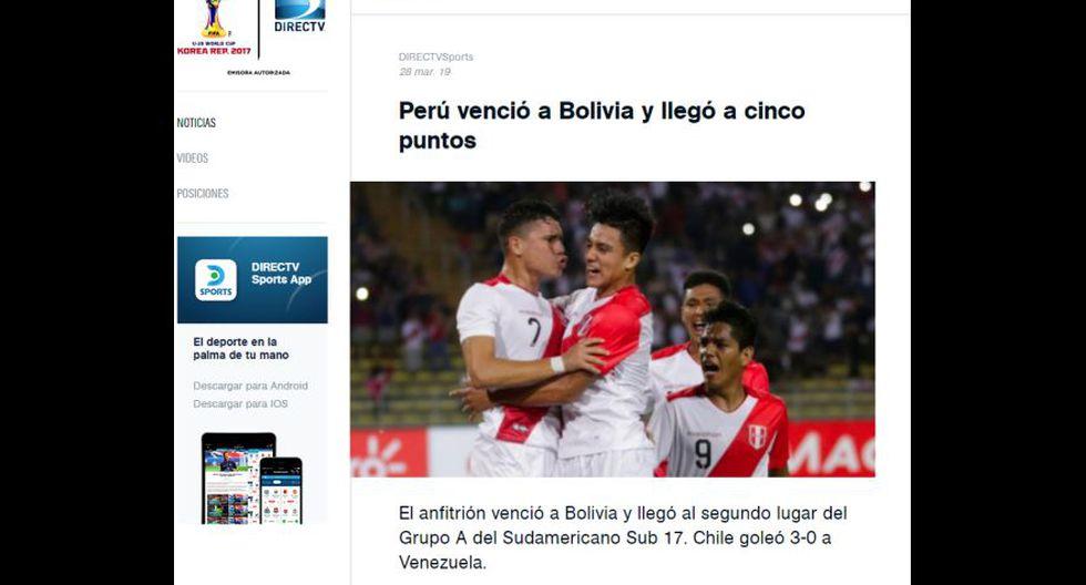 Así informaron los medios sobre la victoria de Perú a Bolivia en Sudamericano Sub 17.