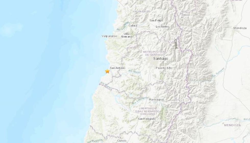 El sismo fue percibido en la capital de Chile, Santiago, pero no se han reportado heridos ni daños materiales. (Foto: USGS)