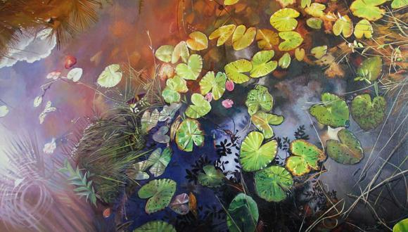 """Encuentro"""", oleo sobre lienzo. La obra podrá ser vista en 'Dama roja vestida de verde' (Difusión)."""