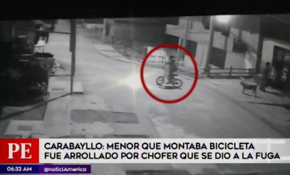 El menor fue impactado por un auto que se dirigía a toda velocidad en Carabayllo. (Foto: captura)