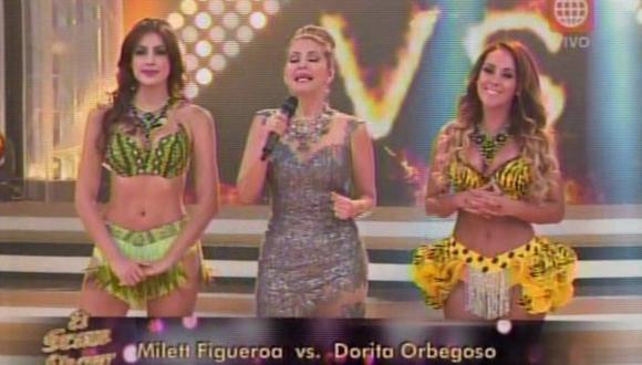 Milett Figueroa perdió duelo con Dorita Orbegoso y fue sentenciada en 'El gran show' . (América Televisión)