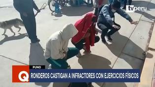 Puno: Ronderos castigan con ejercicios físicos a jóvenes sorprendidos en bares