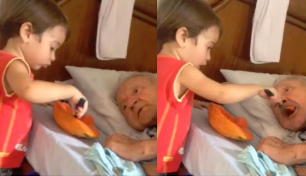En las imágenes del video de Facebook se ve al adorable pequeño alimentando, con lo que parece ser una papaya, a su abuelo que yace recostado en la cama. (Foto: Facebook)