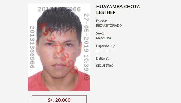 Lesther Huayamba Chota, tío del niño ysospechoso del crimen fue incluido en programa de recompensas. (Foto: Mininter)