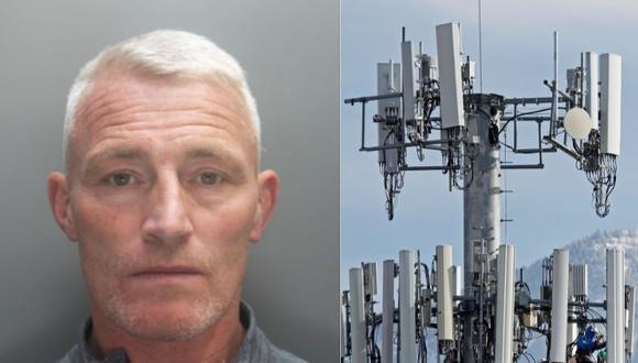 Británico es condenado a 3 años de cárcel por quemar antena de 5G por teoría conspirativa sobre el coronavirus. (MERSEYSIDE POLICE // George Frey/AFP)