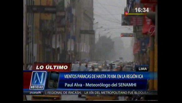 Viento Paraca complica la visibilidad a distancia. (Canal N)