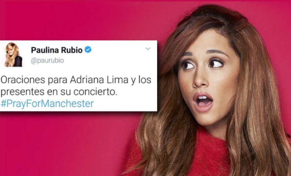 Paulina Rubio y su fatal mensaje de solidaridad para Ariana Grande tras la tragedia en Manchester. (Foto: Composición)