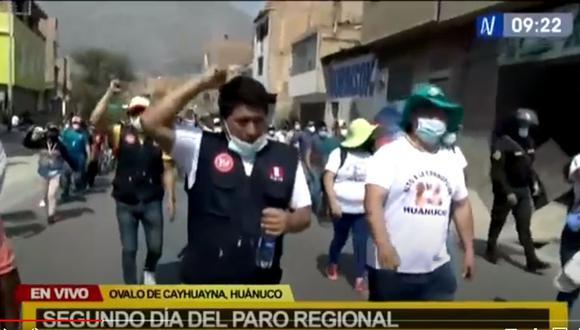 Los manifestantes marcharon este martes hacia la sede del gobierno regional, según informó Canal N. (Captura de video)