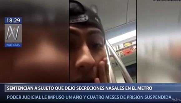 Daniel Livimoro Yépez generó indignación entre los ciudadanos por dejar sus secreciones nasales en una baranda de un vagón de la Línea 1 del Metro de Lima. (Canal N)
