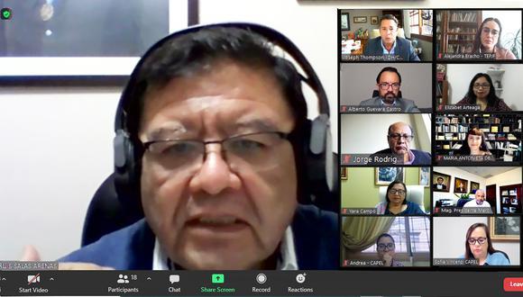 El titular del JNE, Jorge Salas Arenas agradeció la participación de Uniore durante la primera vuelta de las Elecciones Generales de Perú de 2021. (Foto: JNE)