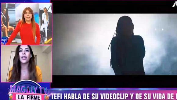 Stephanie Valenzuela se molestó con reportera de Magaly Medina durante entrevista en vivo. (Foto: Captura de video)