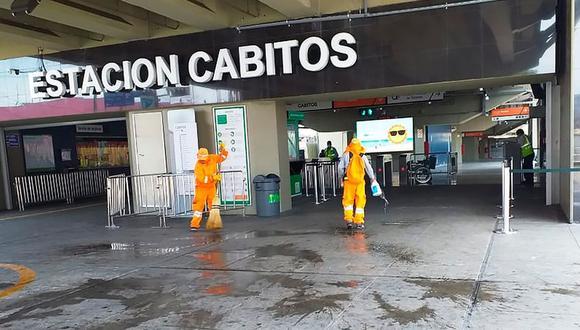 La Municipalidad de Surco efectúa la limpieza constante de tres estaciones de la Línea 1 del Metro de Lima. (Difusión)