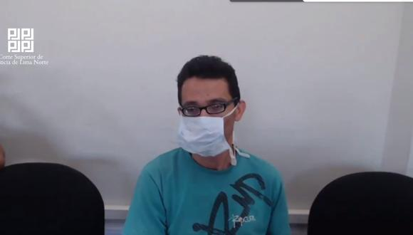 Marco Mendoza Huidobro escuchó la sentencia, en audiencia virtual desde el Penal de Cañete donde se encuentra internado. (Poder Judicial)