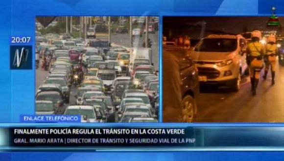 Los conductores sufrieron un caos vehicular esta tarde en la Costa Verde. (Foto: Canal N)