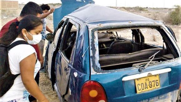 Piura: el vehículo dio varias vueltas de campana a causa de un desperfecto mecánico. (Foto: Difusión)