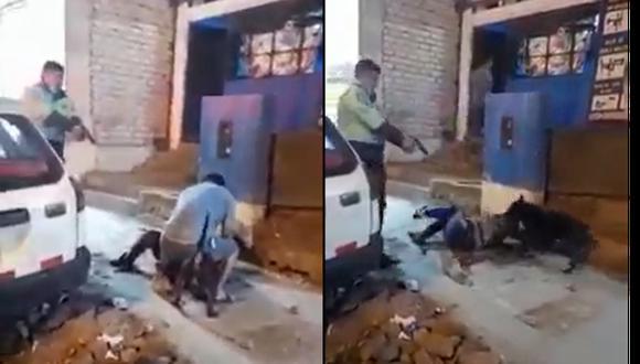 Los vecinos filmaron la intervención del policía que de esta forma salvó la vida de un transeúnte que era atacado por un perro de raza Pitbull. (Foto: captura de video)