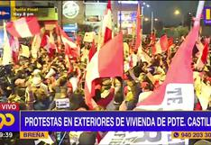 Pedro Castillo: manifestantes llegaron a protestar cerca de la vivienda en la que se aloja el presidente