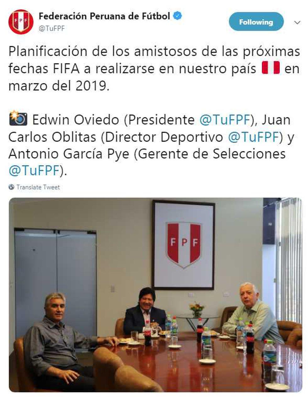 Twtter de la Federación Peruana de Fútbol)